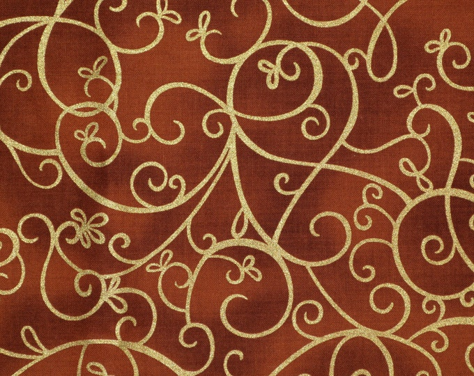 Timeless Treasures fabric, Swirl fabric Shimmer blender fabric, gold metallic and cinnamon