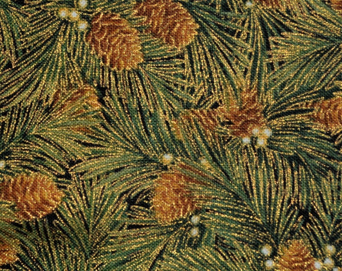 Christmas fabric Timeless Treasures, pine cones and pine needles