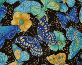 Asian Blue butterfly fabric black butterfly VIP cranston Joan Messmore