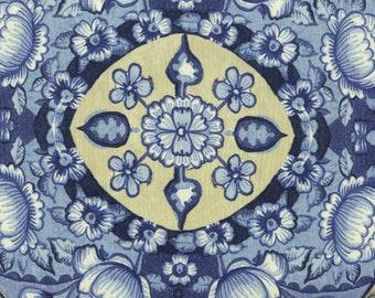 Blue vintage Waverly upholstery fabric large scale Tea Ceremony