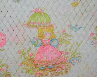1970s printed nylon fabric, Holly Hobbie style lingerie fabric