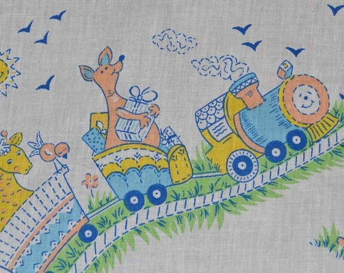 Baby Animal fabric by the yard, storybook baby train with animals