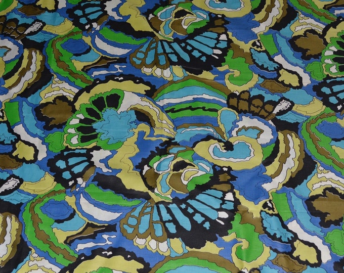 2 yards plus Mod fabric abstract fabric green blue bright colored Schwartz Liebman fabric