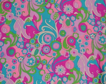 Vintage pure silk fabric, mod print psychedelic groovy