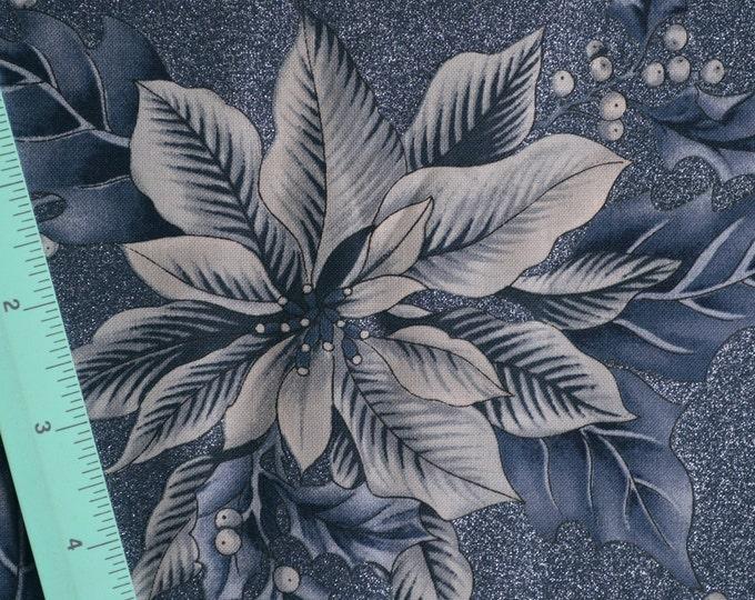 Blue Christmas fabric holiday fabric poinsettia Hoffman fabric