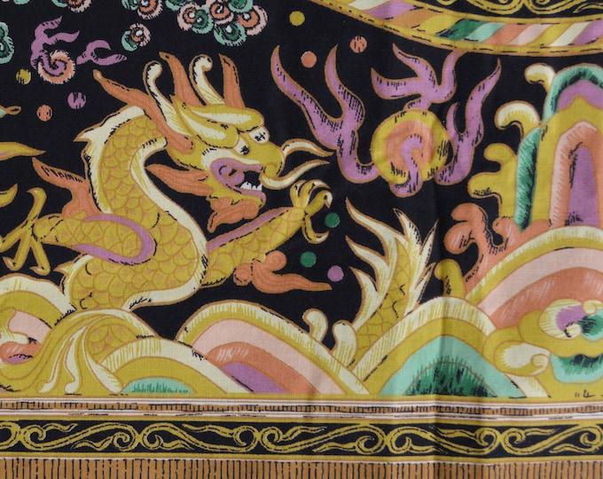 VHTF Chinese dragon border print fabric, cotton Asian dragon border