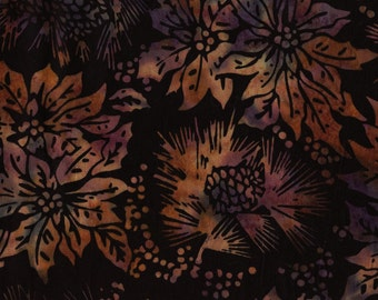 Earth tones cotton batik fabric, pine cones and poinsettias