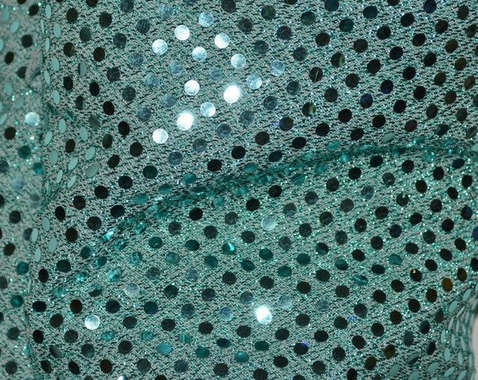 Confetti dot sequin fabric, mirror dot fabric, seafoam over 3 yards