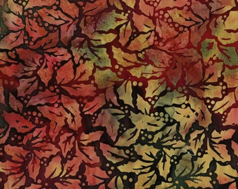 Autumnal colors Holly leaves fabric, Tie dyed batik fabric