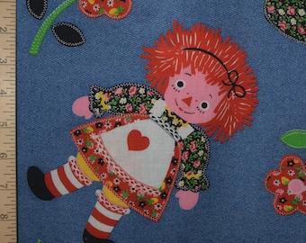 1970s Vintage fabric, rag doll fabric, Raggedy Ann inspired fabric by the yard