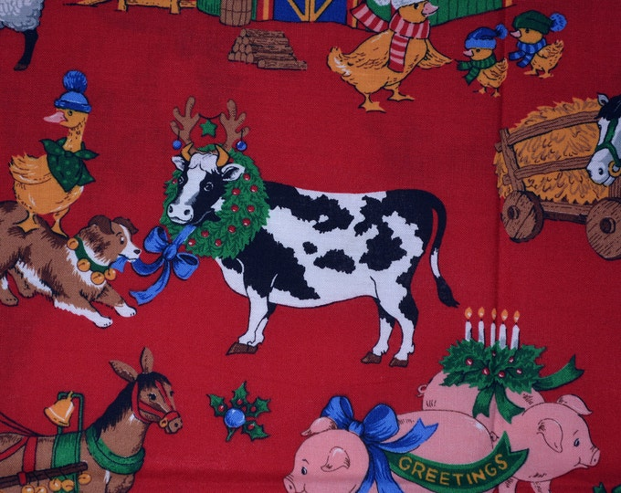 Vintage Christmas fabric Barnyard fabric Christmas on the farm Cranston fabric