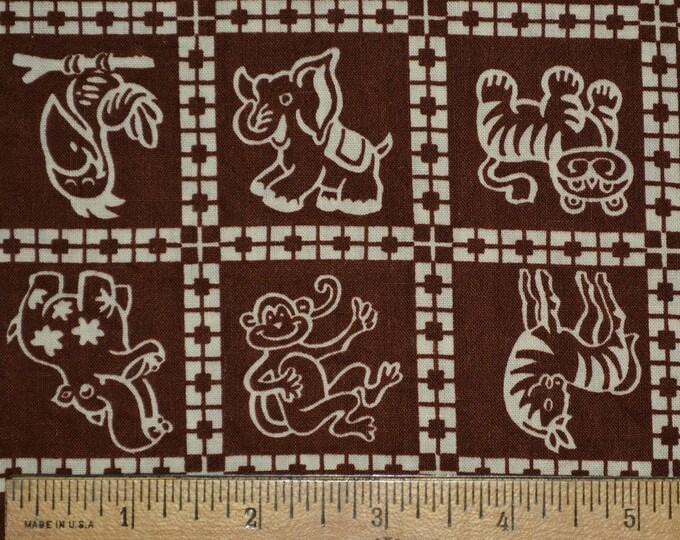 Vintage fabric with baby animals, cartoon animals fabric
