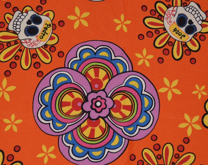Day of the Dead fabric Muertos fabric sugar skull border print