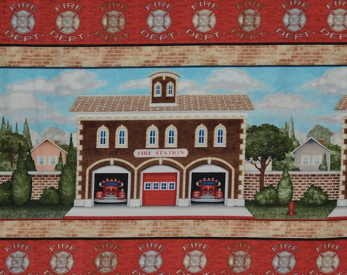 Fireman fabric Firefighter fabric border fabric with fire station VIP Cranston fabric