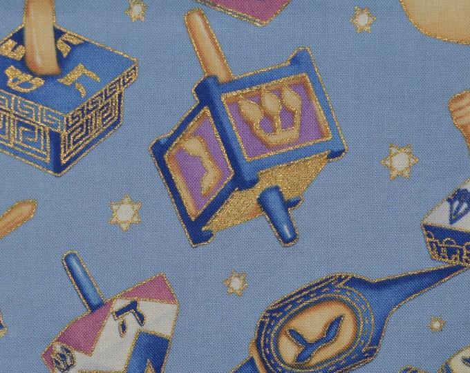 Jewish Hanukkah fabric VHTF Alexander Henry fabric Spinning dreidels