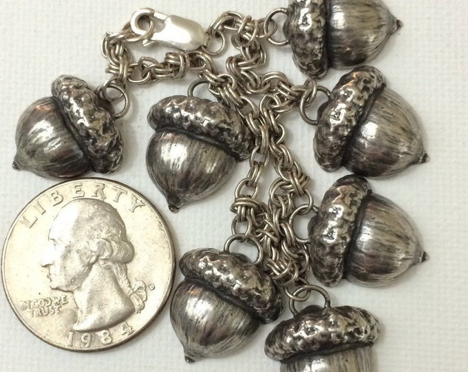Charm bracelet vintage Sterling silver acorns charms