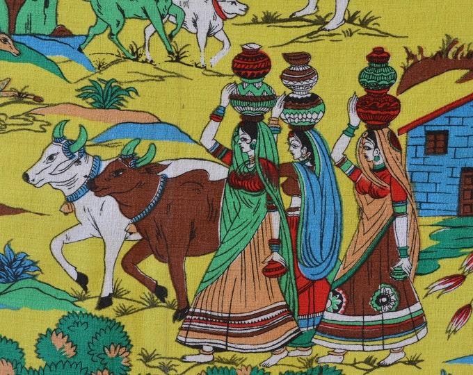 70s fabric Indian village fabric Hindu decor Barkcloth fabric