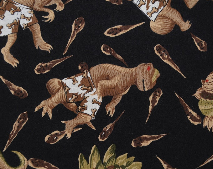 Vintage fabric with Dinosaurs in boxer shorts