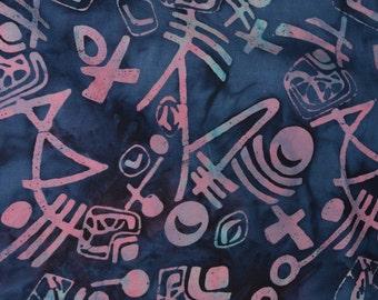 Blue and pink Aboriginal tribal tie dye fabric batik