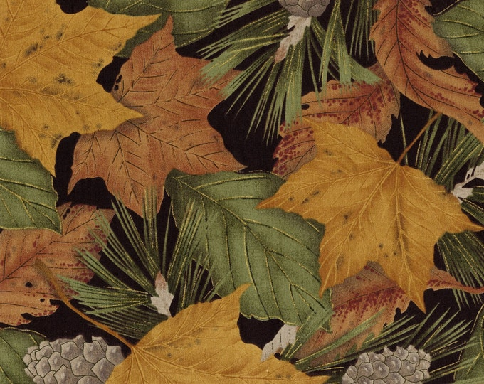 Seattle Bay cotton fabric, nature fall leaves pine cones