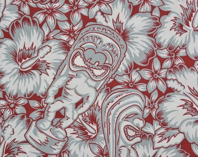 Hawaiian Tiki fabric cotton, Tiki statue with hibiscus, Hoffman fabrics