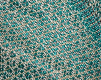 Woven rayon fabric, teal geometric Suiting fabric by the yard, apparel width