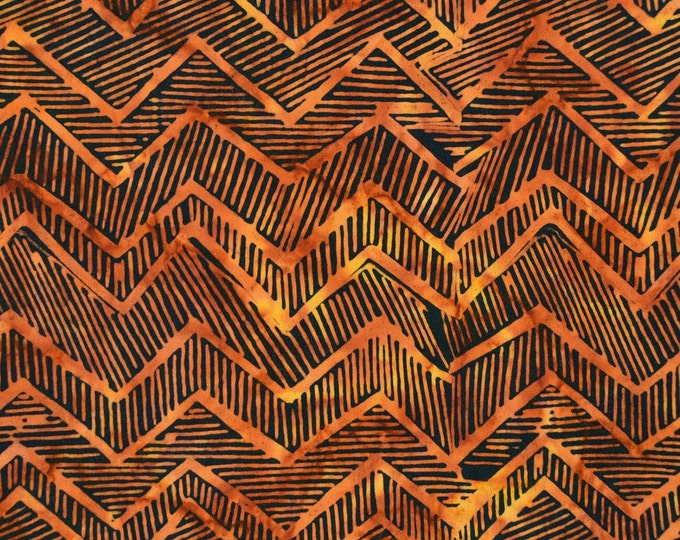 Abstract geometric batik fabric in golden browns and black, fat sixteenths