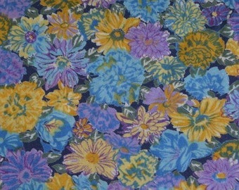 cheerful cotton voile, springtime fabric, Blue 50s floral fabric by the yard