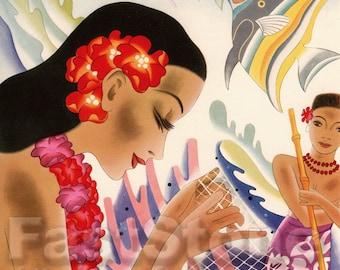 Antique Hawaii cruise line menu downloadable printable image, card making