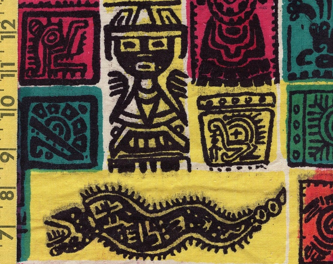 Native tribal glyphs, handblocked vintage fabric, 100 percent cotton fabric, midcentury 1950s