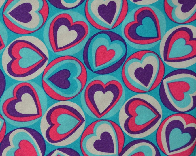 Stretchy fabric Spandex fabric pink aqua purple hearts fabric swim suit fabric