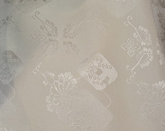 Pure silk fabric by the yard, sheer ivory silk with floral jacquard weave