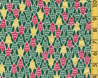 1940s Conversational print fabric, cold Rayon gaslight lamps READ DESCRIPTION