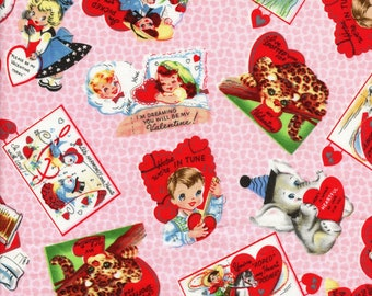 Michael Miller Valentine fabric hearts old school cards