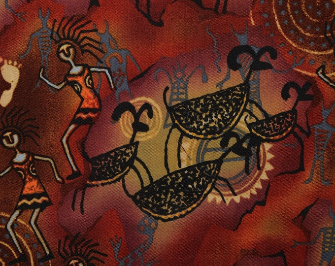 Michael Miller fabric, native fabric, tribal art, Indian earth tone fabric