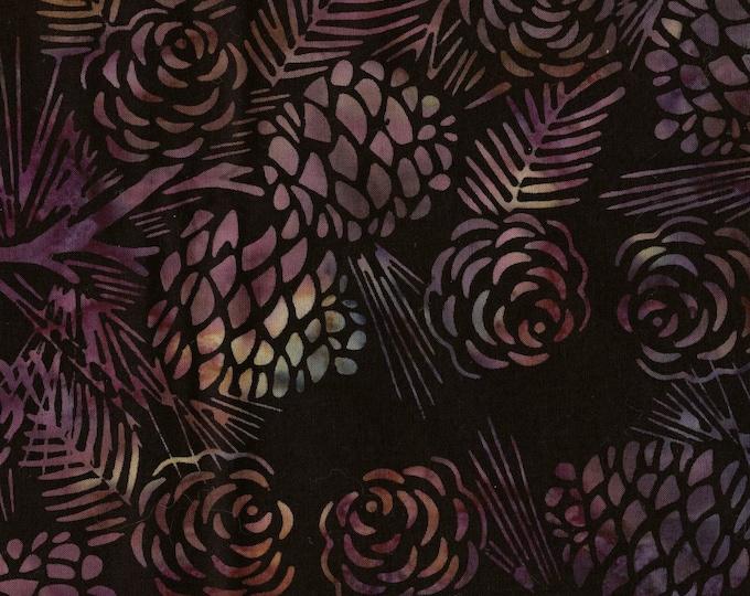 Black and purple batik quilting cotton fabric pine cones
