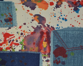 Groovy 70s fabric by yard denim print with splatter paint