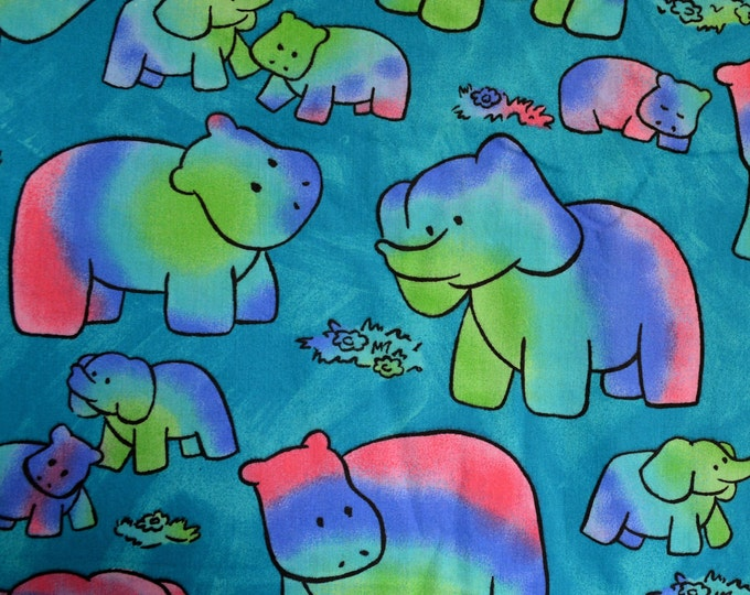Groovy Elephant fabric and hippo fabric 80s fabric