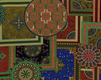 Geometric fabric, Mandala Moroccan fabric, cheater patchwork fabric, rayon twill