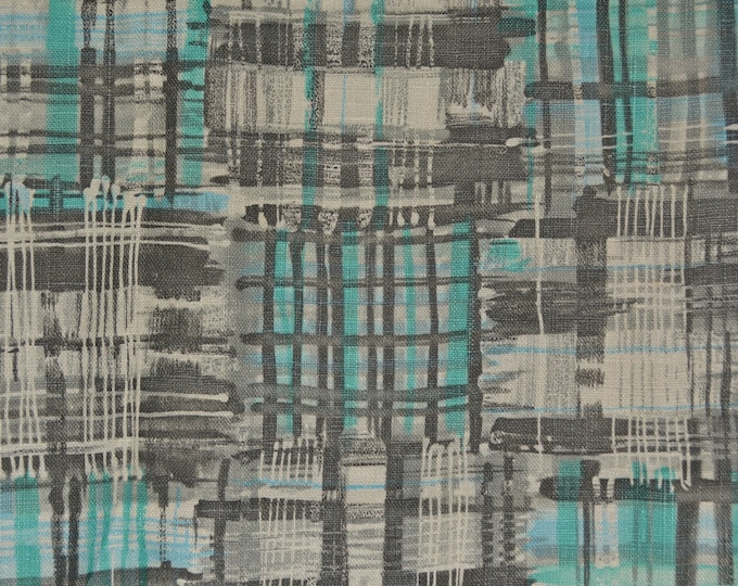 Linen upholstery fabric, modern plaid