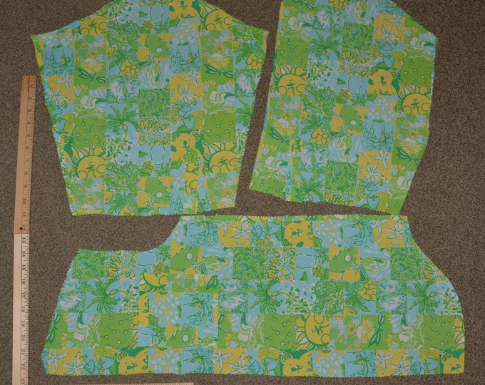 Lilly Pulitzer fabric squares tropical fabric with koala bear Zuzek fabric