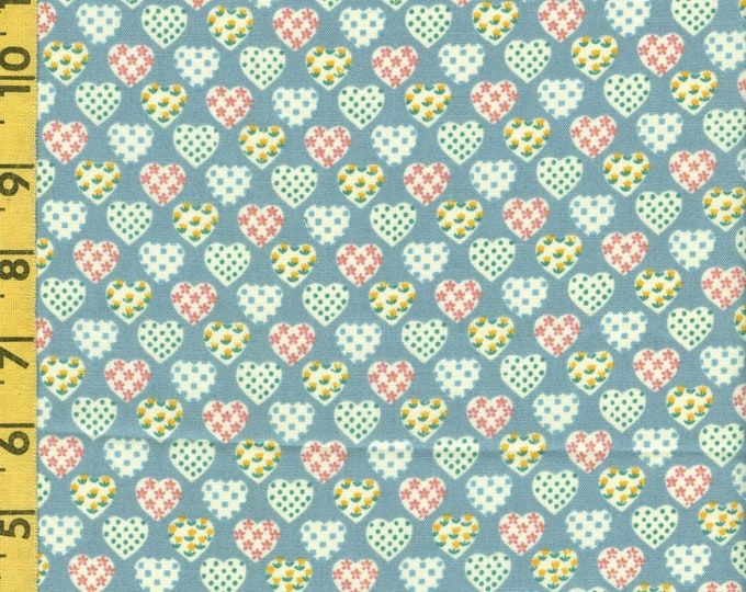 Small hearts fabric, retro valentine fabric doll dress fabric