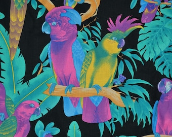 Tropical parrot fabric Hawaiian fabric rainforest fabric neon tropical fabric