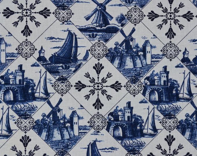 Dutch windmill fabric, delft blue Dutch folk art fabric