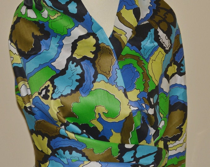 Trippy fabric Multicolor abstract pattern fabric vintage Mod fabric