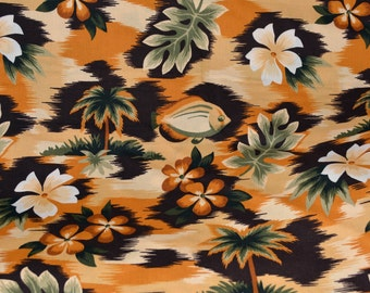 Tropical fabric by the yard, Hawaii fabric with palm trees, hibiscus, fish monstera leaf
