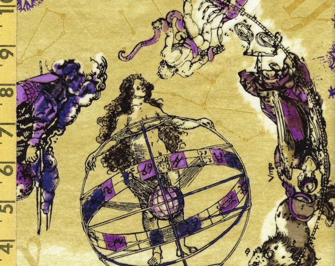 ASTROLOGY FABRIC, Virgo zodiac sign quilting cotton celestial cherubs