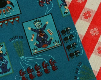 Southwest fabric with Kachina doll Hopi turquoise fabric VIP Cranston fabric