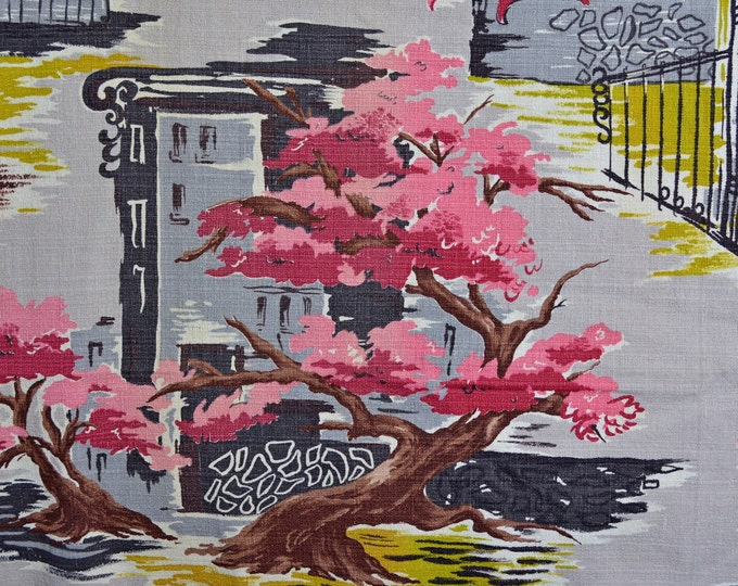 Barkcloth fabric cityscape, mid century vintage, architectural fabric