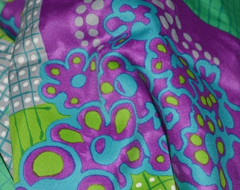 70s vintage fabric, mod Abstract satin polyester, lining fabric for coats